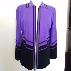 Ming Wang Jacket Cardigan Knit Black Purple Small